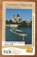 TICK & GO BATEAUX PARISIENS NOTRE DAME DE PARIS 2009 CARTE CADEAU PAS TÉLÉCARTE GIFT CARD NO PHONECARD - Francia