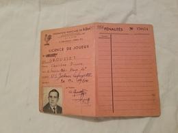 Rygby Fédération  Française  Licence De Joueur U.S. Galeries Lafayette  1960 - Rugby