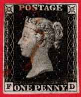 GBR SC #1 U (F,D) 1840 Queen Victoria 4-margins (very Close @ UL) W/red Cancel W/tear & Sm Thin CV $320.00 - 1840-1901 (Victoria)