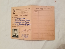 Rygby Fédération  Française  Licence De Joueur  U.S. Galeries Lafayette  1959 - Rugby