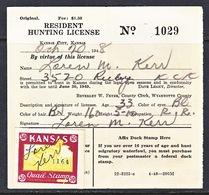U.S. KANSAS  QUAIL  HUNTING LICENSE  (o)  1948 - Revenues