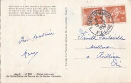 HAUTE LOIRE CP 1957 ESPALY ST MARCEL RECETTE DISTRIBUTION SUR PAIRE 6F MOISSONNEUSE 2665 HABITANT EN 1954 - Marcophilie (Lettres)
