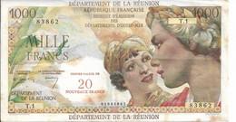REUNION BILLET          20 NOUVEAUX FRANCS / 1000 FRS BON ETAT - Réunion