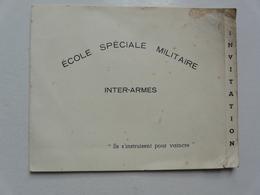 VIEUX PAPIERS - INVITATION : ECOLE SPECIALE MILITAIRE INTER-ARMES - Général BONDIS - Général TIXIER - Coëtquidan (1951) - Cartes De Visite