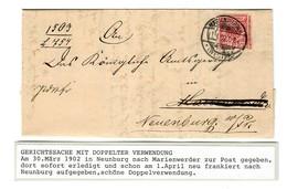 Gerichtssache, 1902 Neunburg Nach Marienwerder, Nach Bearbeitung Zurückgesandt - Germania