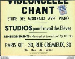 Timbre Fiscal (fiscaux) - Affiches De Paris Sur Document Complet - Solfège-Violoncelle-Piano - 30 Cm X 40 Cm - 20 Francs - Revenue Stamps