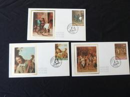 """BELG.1990 2393 2394 & 2395 FDCsoie/zijde ( Perk ) : """" David Teniers II """" - 1981-90"""
