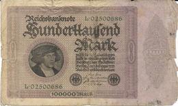Billet De 100000 Marks Allemagne 01/09/1923 - [ 3] 1918-1933 : República De Weimar