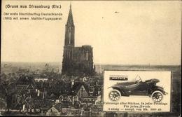 Cp Strasbourg Straßburg Elsass Bas Rhin, Münster, Automobile Mathis, Reklame - Autres Communes