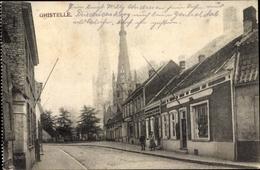 Cp Ghistelle Gistel Westflandern, Straßenpartie, Kirchturm - Belgique