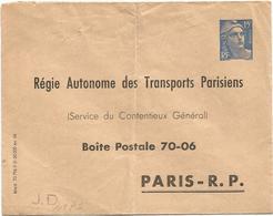 ENTIER 15FR BLEU GANDON PLI CENTRAL HABITUEL TIMBRE SUR COMMANDE REGION AUTONOME DES TRANSPORTS PARISIENS NEUF - 1945-54 Marianne De Gandon