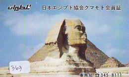 Télécarte Japon Egypte (363) SPHINX * PYRAMIDE * TELEFONKARTE EGYPT Related - Ägypten Phonecard Japan * - Paysages