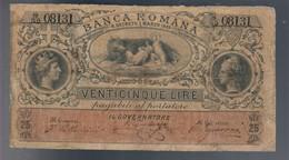 25 Lire Banca Romana Umberto I°1883 R3 RRR Forellini Lieve Mancanza Di Carta E Restauri Mb+ Lotto.1164 - [ 1] …-1946 : Royaume