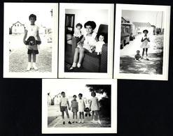 Conjunto De 4 Fotografias CRIANÇAS Com BONECOS. Set Of 4 Vintage PHOTO AMATEUR Children Doll Snapshot PORTUGAL - Personas Anónimos