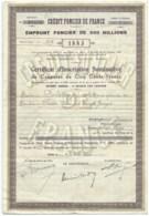 EMPRUNT FONCIER DE 900 MILLIONS / CERTIFICAT D'INSCRIPTION NOMINATIF DE 500f  / CREDIT FONCIER DE FRANCE 1950 - Banque & Assurance