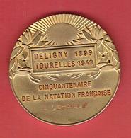 MEDAILLE CINQUANTENAIRE NATATION FRANCAISE 1899 PISCINE DELIGNY 1949 PISCINE DES TOURELLES G. VALLEREY POUR L. LEBAILLIF - Swimming