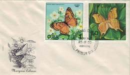 Mariposas Cubanas - Euptojeta Hegesia - Marpesia Eleuchea - 1982 - Cartas