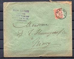 57 Op Brief Gestempeld Van LA BOUVERIE Naar NIMY - 6 Juin 1899 - 1893-1900 Fine Barbe