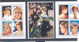 Congo Kinshasa OBC Nr : BL 128 129 130 ** MNH  DENTELEE  GETAND Diana (zie Scan)  No Gum 1998 - Ungebraucht
