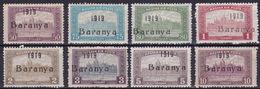 "Baranya, 1919, All ""Parliament"" Values With Constant Flaw ""Broken R"", 1 And 2 K. Overprint Type IV, 50 Fil. Damaged - Baranya"