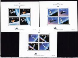 1991 Portogallo Azzorre Madeira Portugal Azores Madera EUROPA CEPT EUROPE 3 Foglietti Spazio MNH** 3 Space Souv. Sheets - Europa-CEPT