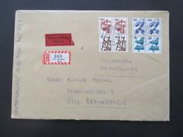 Berlin 1977 Freimarken Unfallverhütung 4 Waagerechte Paare Als MiF Nr. 403, 408, 409 U. 411 Eilzustellung / Einschreiben - Cartas