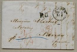 Prusse / 2 Sierk 2 Du 1 Avril 1852 Lettre D'Aachen Pour Nancy - Marcophilie (Lettres)