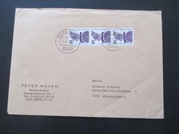 Berlin 1971 / Verwendet 1982 Freimarken Unfallverhütung Nr. 404 (3) MeF Als Senkrechter 3er Streifen - Cartas
