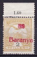 "Baranya, 1919, 2 Fil ""Turul"", Red Overprint, Unissued, MNH, Very Good Quality - Baranya"