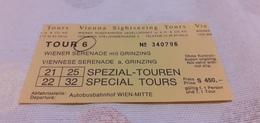 BIGLIETTO AUTOBUS TOURS VIENNA SIGHTSEEING  - SPEZIAL TOUREN- AUTOBUSBAHNHOF WIEN - MITTE - Bus
