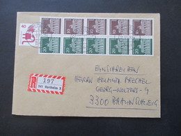 Berlin 1977 Freimarken Brandenburger Tor 5er Block ZD W41 MiF Mit Unfallverhütung Einschreiben Northeim 3 Nach Braunschw - Cartas