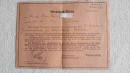 Wehrpaß = Notiz 1939 Militär - 1939-45