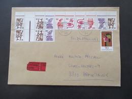 Berlin 1977 Freimarken Unfallverhütung ZD / 14er Einheit Aus MHB Mit Bogenrand Eilbrief Von Göttingen Nach Braunschweig - Cartas