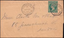 St. Vincent: Streifband HALF PENNY Grün Von KINGSTOWN 29.11.1895 Nach Londom - St.Vincent (1979-...)