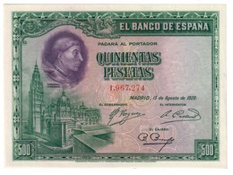 SPAIN500PESETAS15/08/1928P77UNC.CV. - [ 1] …-1931 : Prime Banconote (Banco De España)