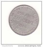 REUNION   PIECE   DE   50 CENTIMES (BON POUR)   1896 - Réunion