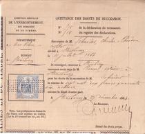 QUITTANCE DES DROITS DE SUCCESSION , TIMBRE IMPERIAL DIMENSION A 50 C , GC 2271 - 1864 - Revenue Stamps