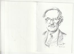 Doodsprentje Raf BELMANS Wed. Cleymans Geel 1920-1999 Musicus Piano Organist St. Dimpnakerk Leeraar Tekening Voorkant - Images Religieuses