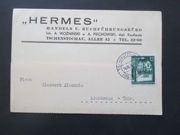 Generalgouvernement 1940 Bauwerke Nr. 43 EF Firmenkarte Hermes Buchführungsbüro In Tschenstochau, Allee 42 - Ocupación 1938 – 45