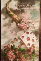 Cpa, Fantaisie, Bonné Année (1923), Corne D'abondance , Fleurs, Courrier, Billet De Banque, éd  Furia 1103, écrite - Anno Nuovo