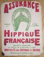 Rare Buvard ASSURANCE HIPPIQUE FRANCAISE Mortalité Des Chevaux Et Bovins 13 Rue Laborde Paris - Fer à Cheval - Animales