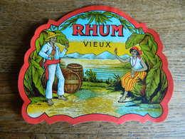 TRES BELLE ETIQUETTE DE RHUM -TRES BEAU GRAPHIQUE AVEC PLANTEURS  DES ILES - Rhum