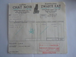 1962 Chat Noir Caféterie Zwarte Kat Koffiebranderij Liège Medaille D'or Expo 58 Facture Huart La Bouverie Taxe 2 Fr - Food