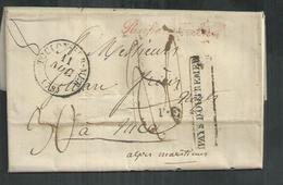 """LAC D'Alger 1835 Pour Nice Purifié De Toulon Avec Marque D'entrée """"Pays D'outre-mer"""" - Poststempel (Briefe)"""