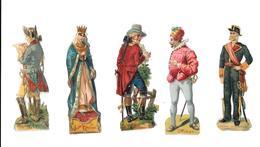 Lot De 5 Découpis, Antiquité, Officier,bourgeois 1793 ,isabelle La Catholique,officier état Major,almirante De La Armada - Other