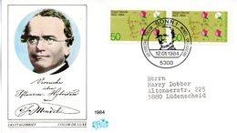 "BRD Schmuck-FDC ""100. Todestag Von Gregor Johann Mendel"" Mi. 2x 1199 ESSt 12.1.1984 BONN 1 - FDC: Covers"