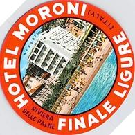 Publicité > Etiquette POUR MALLE OU VALISE ANCIENNE HOTEL MORON FINALE LIGUE RIVIERA DELLE PALME ITALIE - Hotel Labels