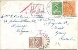 SH 0485. N° Yv. 77-126 SYDNEY 20 FEB 39 S/CP V. MASCOT - Exp. D' ANVERS (B) + TTx Belge 41 ANTWERPEN 26.5.39.Curieux. - Covers & Documents