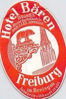 Publicité > Etiquette POUR MALLE OU VALISE ANCIENNE HOTEL BÄREN FREIBURG IM BREISGAU SCHWARZALDHAUPSTADT - Hotel Labels