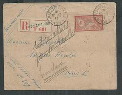 Merson 40cts Sur Enveloppe Recommandée Secteur Postal No 109 ( Maroc) Pour Paris - Marcophilie (Lettres)